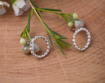 Bubble Earring Circle Studs - Sterling Silver