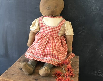 """Antique printed cloth doll~ primitive handmade~ Art Fabric Mills~ 24"""" vintage doll early 1900s from MilkweedVintageHome"""
