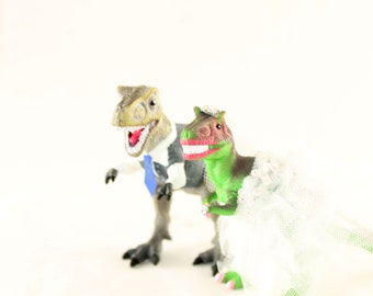 Custom Dinosaur Bride & Groom  Wedding Cake Toppers -Trex