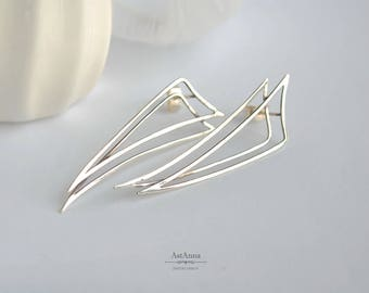 Upside down triangle earrings Silver geometric earrings Triangle sharp Minimalist everyday posts Gothic earrings Gift for women Gift for her