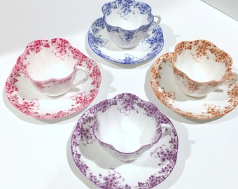 Shelley Tea Set for Four, Dainty Mauve Cup, Dainty Brown Cup, Dainty Blue Cup, Dainty Pink Cup, Shelley China, Tea Cups Vintage, Shelley Set