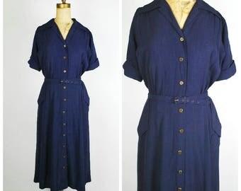 1940's Dress - 40's Day Dress - Blue Gaberdine Minimalist Dress - Size L/XL