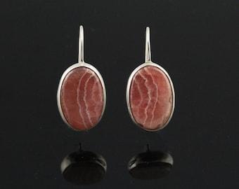 Rhodocrosite Earrings, Solid Sterling Silver Setting, Lever Back Safety Lock, Semi Precious Gemstone Earrings, LGE12