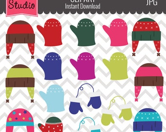 Winter Hats And Gloves Mittens Clipart Clothing