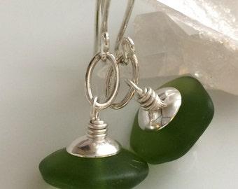 Green Glass Earrings / Matte Glass Earrings / Emerald Green Glass / Sterling Silver Earrings