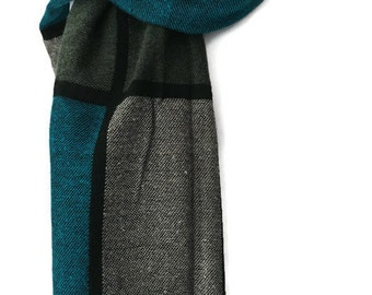 Teal Scarf, Large Chunky Blue and Brown Checked Blanket Style Wrap, Laies Shawl
