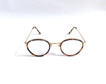 Vintage Deadstock 1988 Sanford Hutton Round Tortoise Shell and Gold Toned Eyeglasses Frames / *Oliver Peoples MP-2 Style*