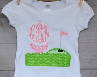 Personalized Golf Tee Monogram Applique Shirt or Onesie Boy or Girl
