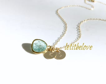 Aquamarine Necklace Personalized initial necklace Erinite Aquamarine Jewelry Monogram Necklace Monogram Initials Letters 14k gold filled