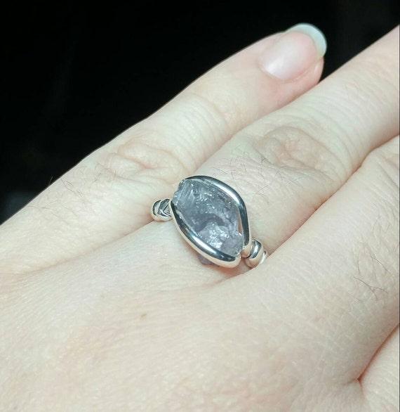 Raw Tourmaline Ring | Sterling Silver Ring Sz 8.25 | Rough Tourmaline Ring | Uncut Gemstone Ring | Purple Tourmaline Jewelry