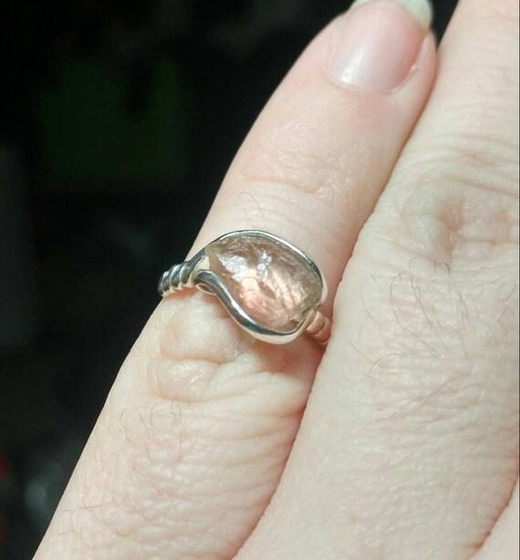 Raw Crystal Ring | Oregon Sunstone Ring | Raw Crystal Ring | Sterling Silver Ring Sz 5 | Schiller Oregon Sunstone Ring | Raw Stone RIng