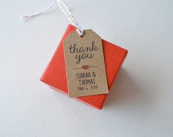 Kraft Brown Small Label Tags - Custom Wedding Favor & Gift Tags - Thank You Tag