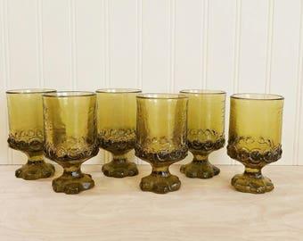 """Vintage 4.75"""" Tiffin Franciscan Madeira Olive Green Goblets Stemmed Glasses Tiffin Glasses Green Glasses Green Stemmed Glass Mad Men Glasses"""
