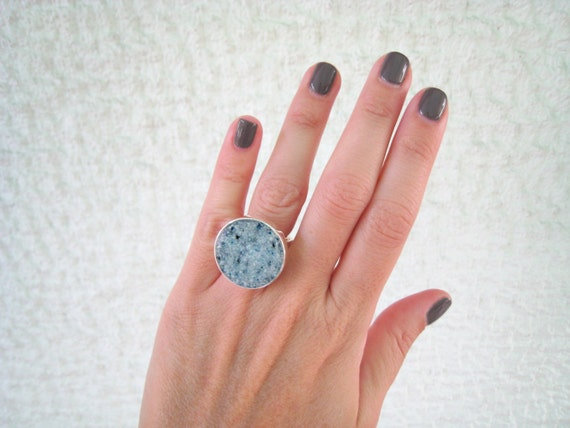 Granite Grey ring, gray stone ring, grey resin ring, contemporary jewelry, faux marble - faux granite, round solitaire ring