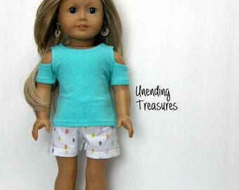 18 inch doll clothes AG doll clothes made to fit like American Girl doll clothes aqua cold shoulder top and cuffed shorts