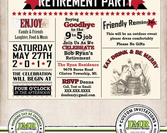 Retirement Party Invitation, Edwardian, Eat Drink & Be Merry