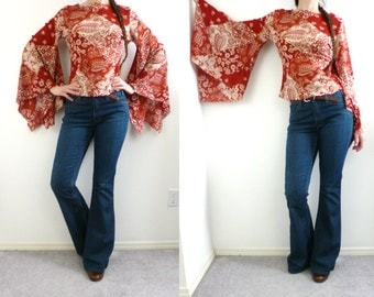 VTG Hippie Top Boho Blouse Flare Bell Angel Sleeve 90s Does 70s Mesh Size S