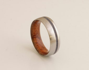 WOOD WEDDING BAND lapis ring with Mahogany Wood titanium wedding band mens wedding ring man jewelry woman ring