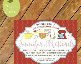 Digital File- Custom Kitchen Themed Bridal Shower Invite. Vintage Inspired Kitchen Shower. Recipe Bridal Shower. Kitchen Shower Invitation