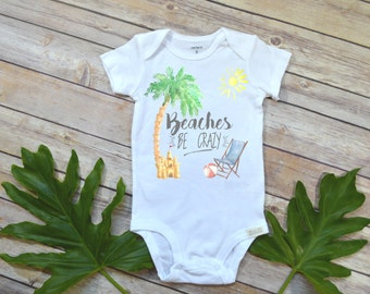 Hawaii Baby shirt, Beaches Be Crazy, Baby Shower Gift, Florida Baby, Cute Baby Clothes, Grandbaby Gift, Niece gift, Vacation Shirt,Tropical