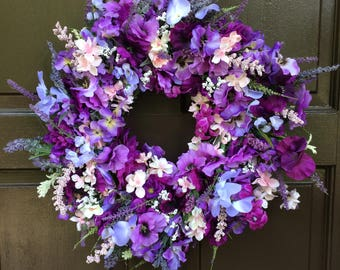 Purple,lavender,pink,blue,lilac,pansy,dogwood,heather,wreath, front door wreath, door decor,20 in wreath,ready to ship new listing