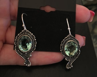 July Special! Faceted Aquamarine 925 Sterling Silver Earrings