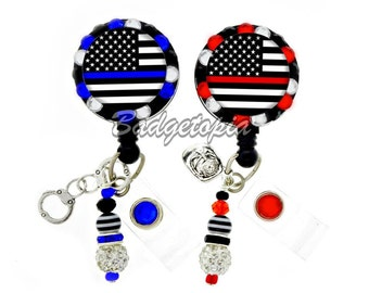 Thin Blue Line and Thin Red Line ID Badge Reel - Personalized Rhinestone Nurse Badge Holder, EMT, Firefighter, Police Officer (E319)