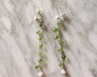 Earrings with drops of Peridot.