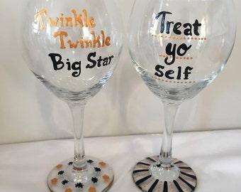 Treat Yo Self - Twinkle Twinkle Big Star Wine Glass Set - Parks and Rec