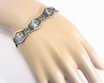 Vintage Siam Sterling Nielloware Link Bracelet