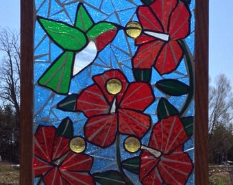 Hummingbird Stained Glass Mosaic Panel - Ruby throated hummingbird Mosaic Hibiscus - Stained Glass Hummingbird Red Hibiscus Mosaic Panel