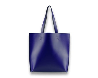 Smooth leather TOTE bag | #toxleather handmade tote | INDIGO BLUE