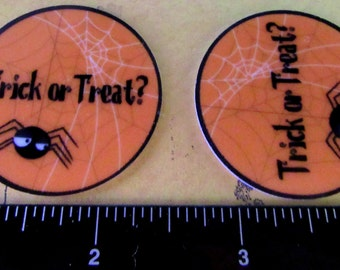 "2 Each Approximately 1.75"" Round Trick Or Treat Halloween Web and Spider Flat Back Resin Embellishment"