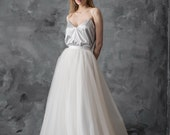 Ivory tulle wedding skirt, tulle wedding gown, separate bridal skirt, full length tulle skirt, tulle prom dress