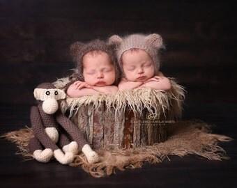 Newborn bear hat 16 colors / newborn bear photo props / newborn bear bonnet / baby bear outfit / newborn hat with ears / newborn mohair hat