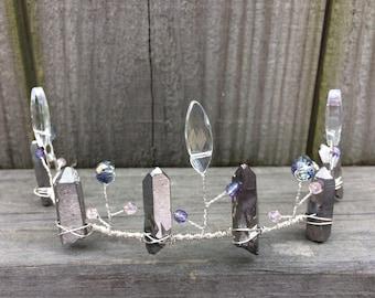 Crystal Crown, Silver Fairy Crown, Silver Wedding Tiara, Crystal Headband, Beaded Bridal Hair Crown, Wedding Headband, Silver Hair Crown