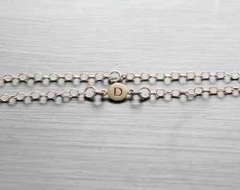 Sterling Silver Simple D Initial Bracelet, Silver Stamped D Bracelet, Stamped D Initial Bracelet, Small D Initial Bracelet, D Bracelet