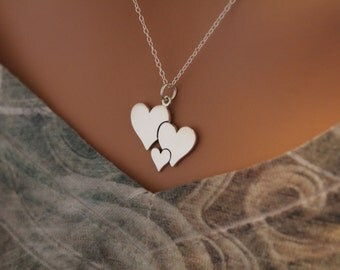 Sterling Silver Three Heart Charm Necklace, Three Heart Family Charm Necklace, Three Heart Pendant Necklace, Family Charm Necklace