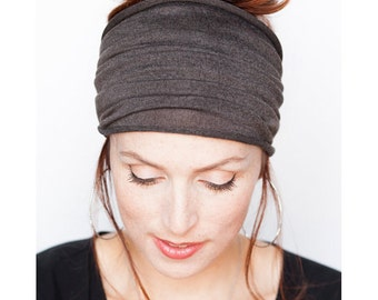 Grey Headband - Knit Headband Wide Headband Tube Headband Workout Headband Fitness Headband Running Headband Winter Hat Grey Headwrap