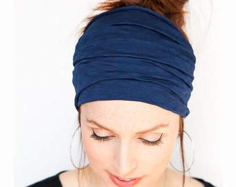 Navy Wide Headband Yoga Headband Boho Headband Running Headband Womens Hair Accessories Dark Blue Headwrap Head Wrap Hair Wrap headbands