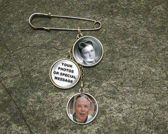 Charm Pin, photo boutonniere pin, photo Lapel Pin, Custom Lapel Pin, Garter pin, 2 charm pin, 3 charm pin, 4 charm pin