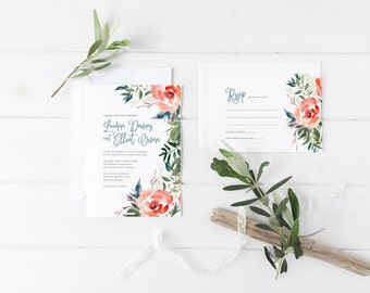 Printable Wedding Invitation Set | Floral Wedding Invitation Suite | Botanical Invitation Set | Invitation, RSVP, Details Card | WI-028