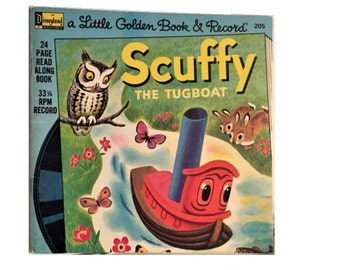 Scuffy the TUGBOAT, Vintage Illustrated Book Replacement, Disneyland Records Little Golden Book and Record, Read Along Book, No Audio
