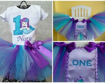 1st Birthday Mermaid Under The Sea Birthday Tutu Outfit and High Chair Tutu, Wall Banner, Cake Smash, High Chair Decoration Banner