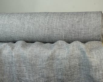 Pure 100% linen fabric 130gsm. White & black pinstripes. Light weight, not sheer, washed-softened. For light clothes.