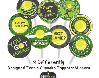 Tennis Cupcake Toppers Tennis Birthday Sports Birthday Tennis Ball Birthday Tennis Chalkboard Digital File by Busy bee's Happenings