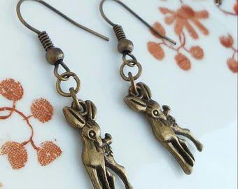 Deer Bronze Charm Earrings Antique Bronze Jewellery Gift Deers Steampunk Skull and Crossbones Charms