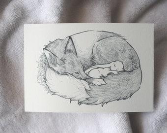 Fox and Bunny Art, Fox and Bunny Postcard, Fox and Rabbit Drawing, Fox and Bunny Illustration, Sleeping Fox and Bunny, Sleeping Rabbit, A6