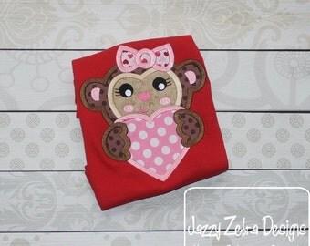 Monkey Girl Valentine Appliqué embroidery design - Valentines day appliqué design - Valentine appliqué design - girl appliqué design