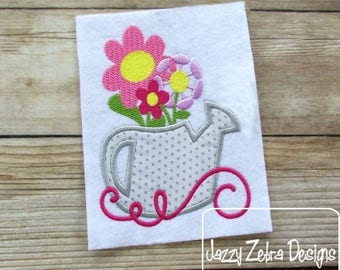 Flowers in Watering Can Appliqué Embroidery Design - spring appliqué design - flowers appliqué design - watering can appliqué design - girl